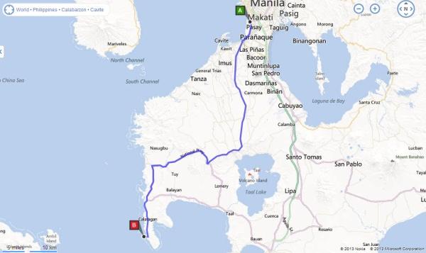 EDSA Pasay to Burot Beach Route