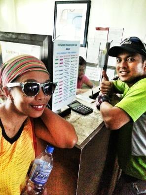 Simang Gala & Dio buying return tickets