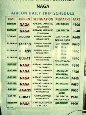 Raymond Bus Schedule & Fare Matrix